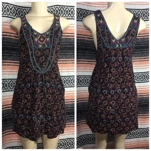 FREE PEOPLE | BEADED EMBROIDERED SILK DRESS SZ 0